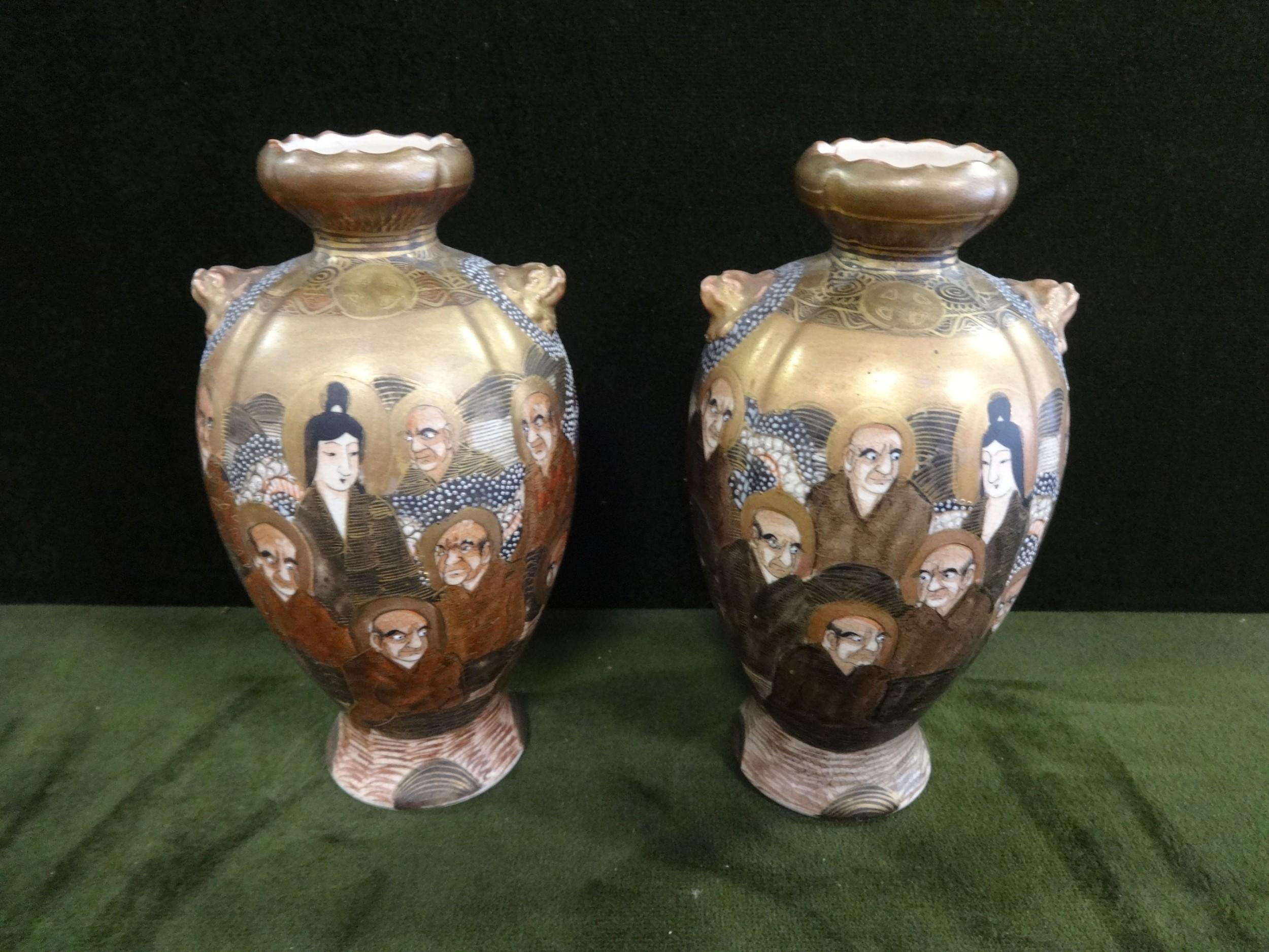 pair thousand faces japanese satsuma vases