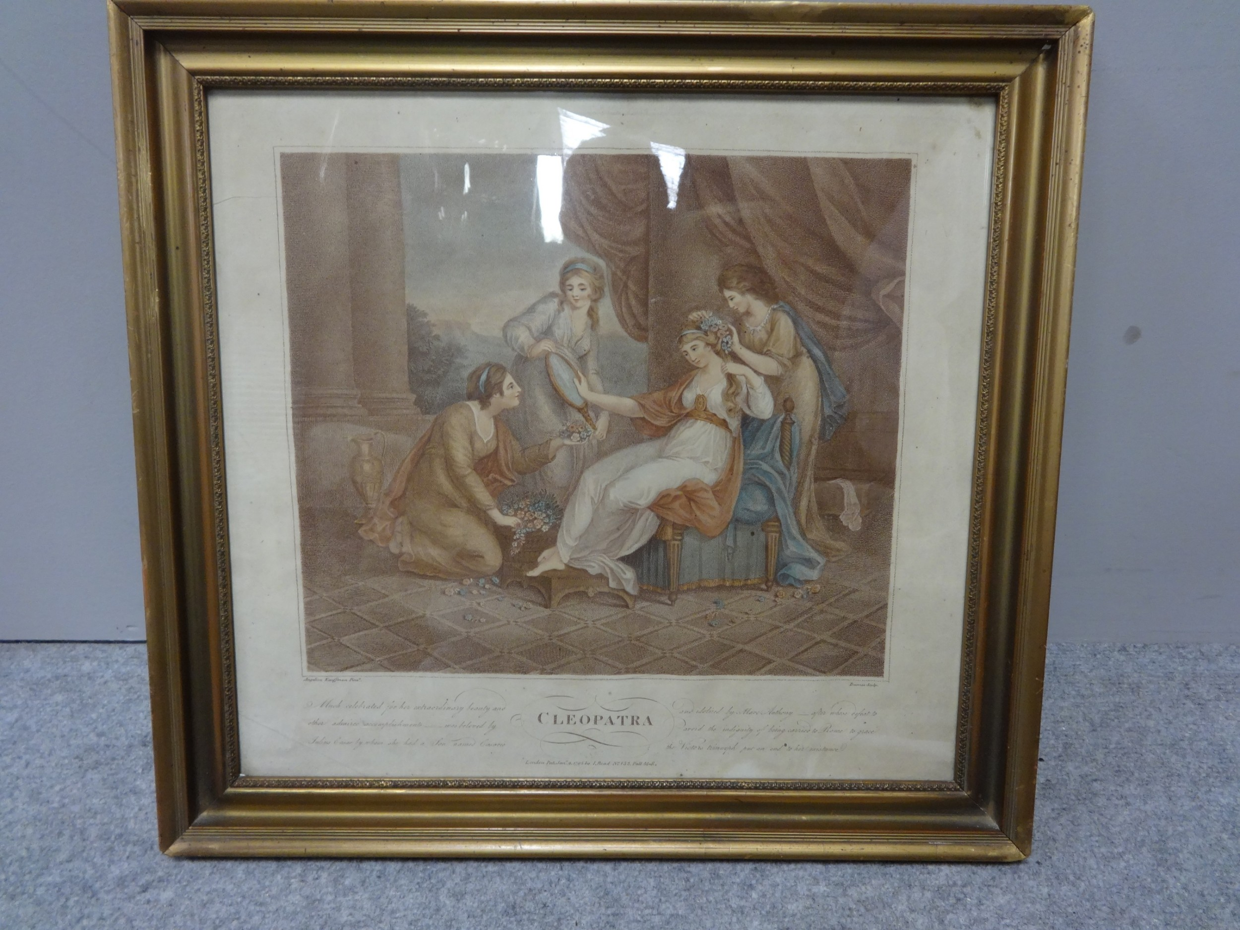 regency engraving 'cleopatra' by angelica kauffman