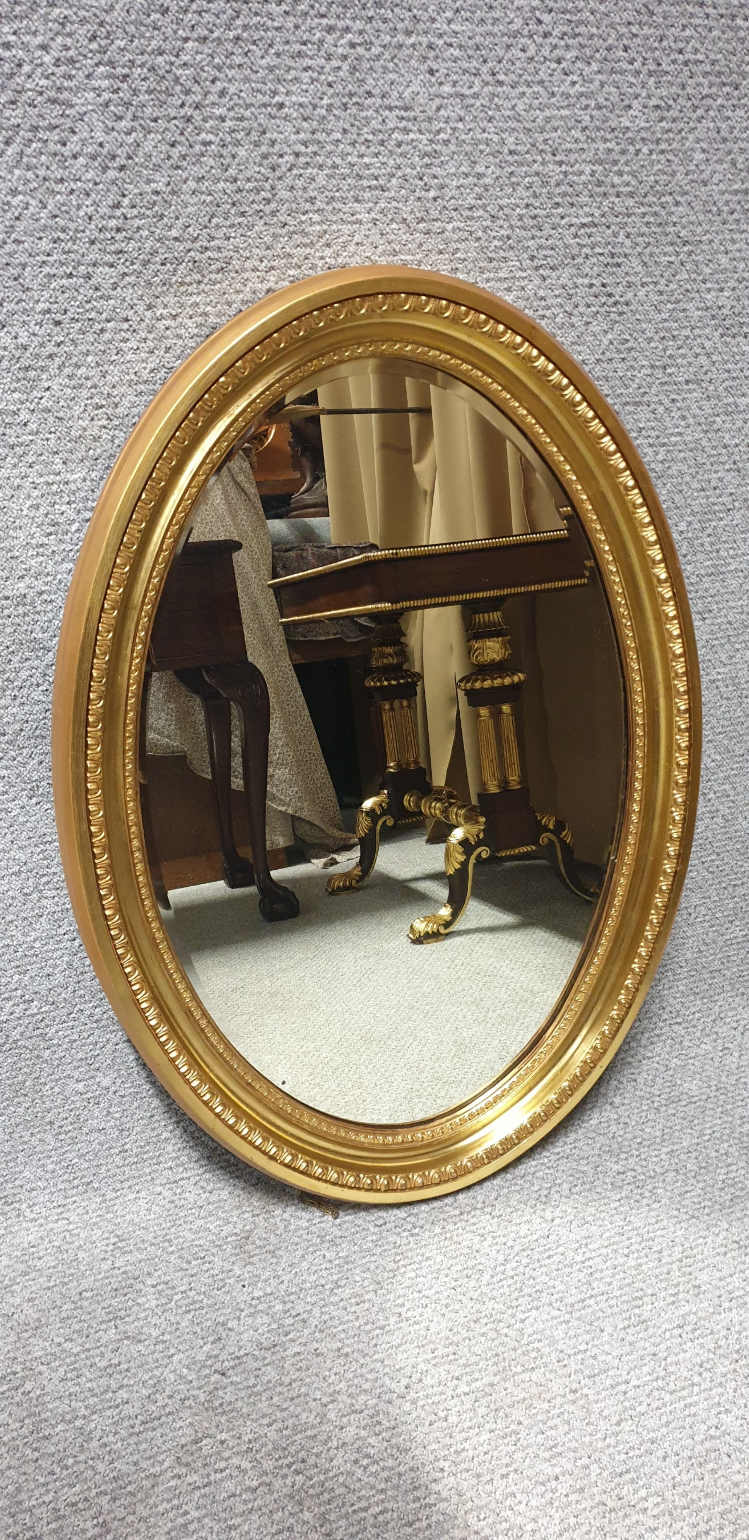 edwardian oval gilt mirror