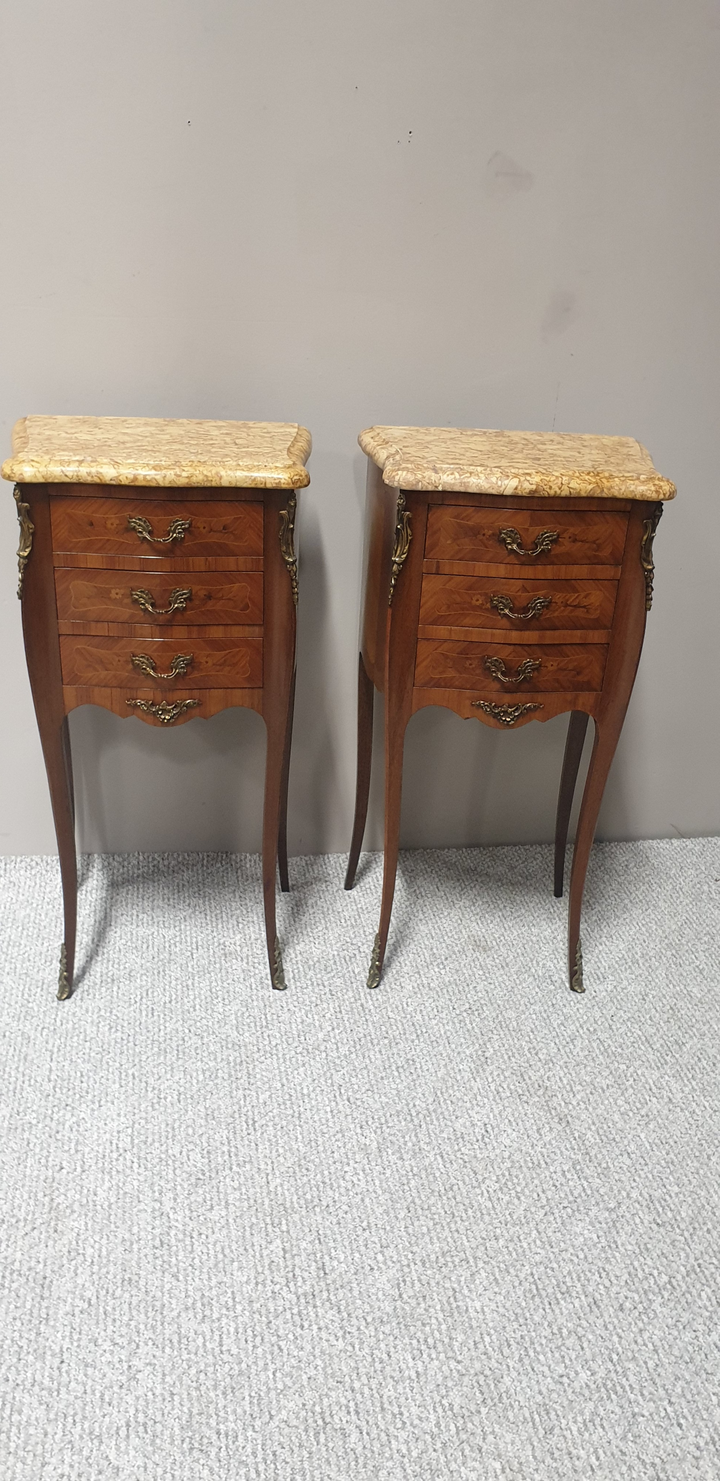 pair french marquetry beside chests of drawers