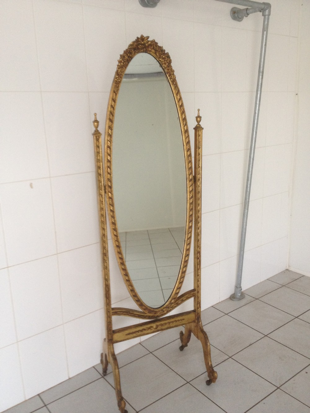 Large english gilt cheval mirror 246410 for Cheval mirror