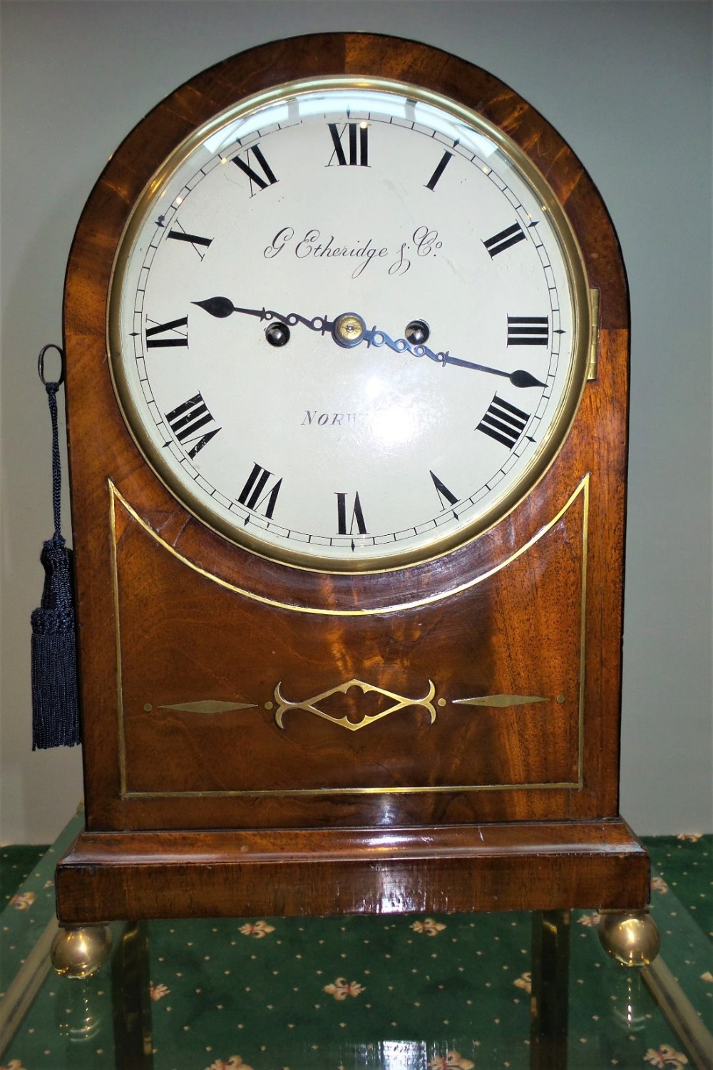 19th cent mahogany bracket clock