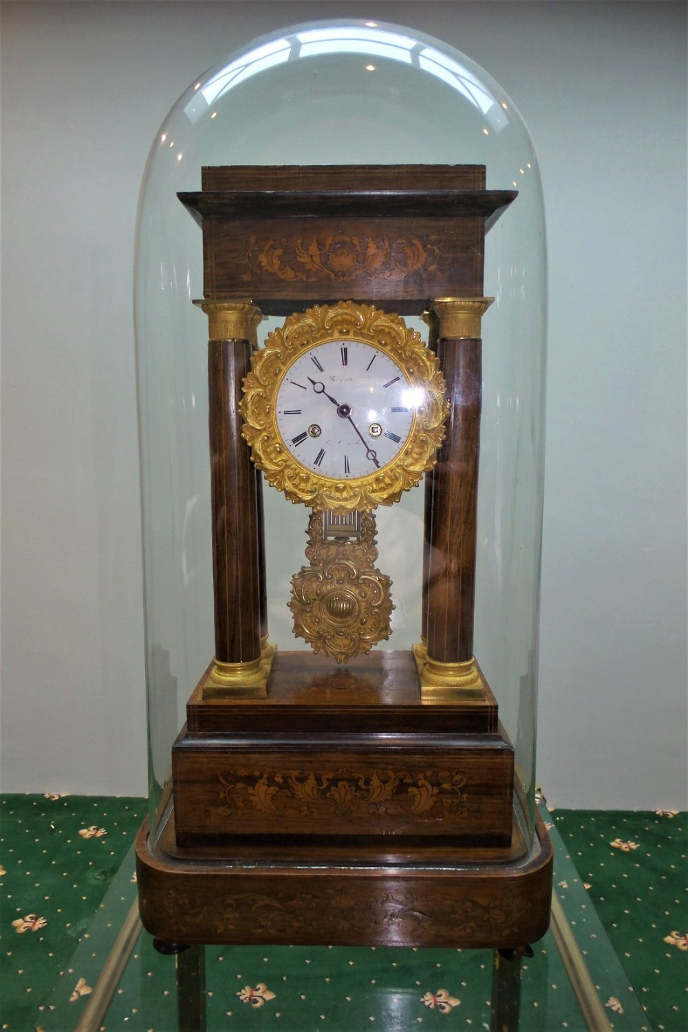 19th cent french rosewood and marquetry portico clock