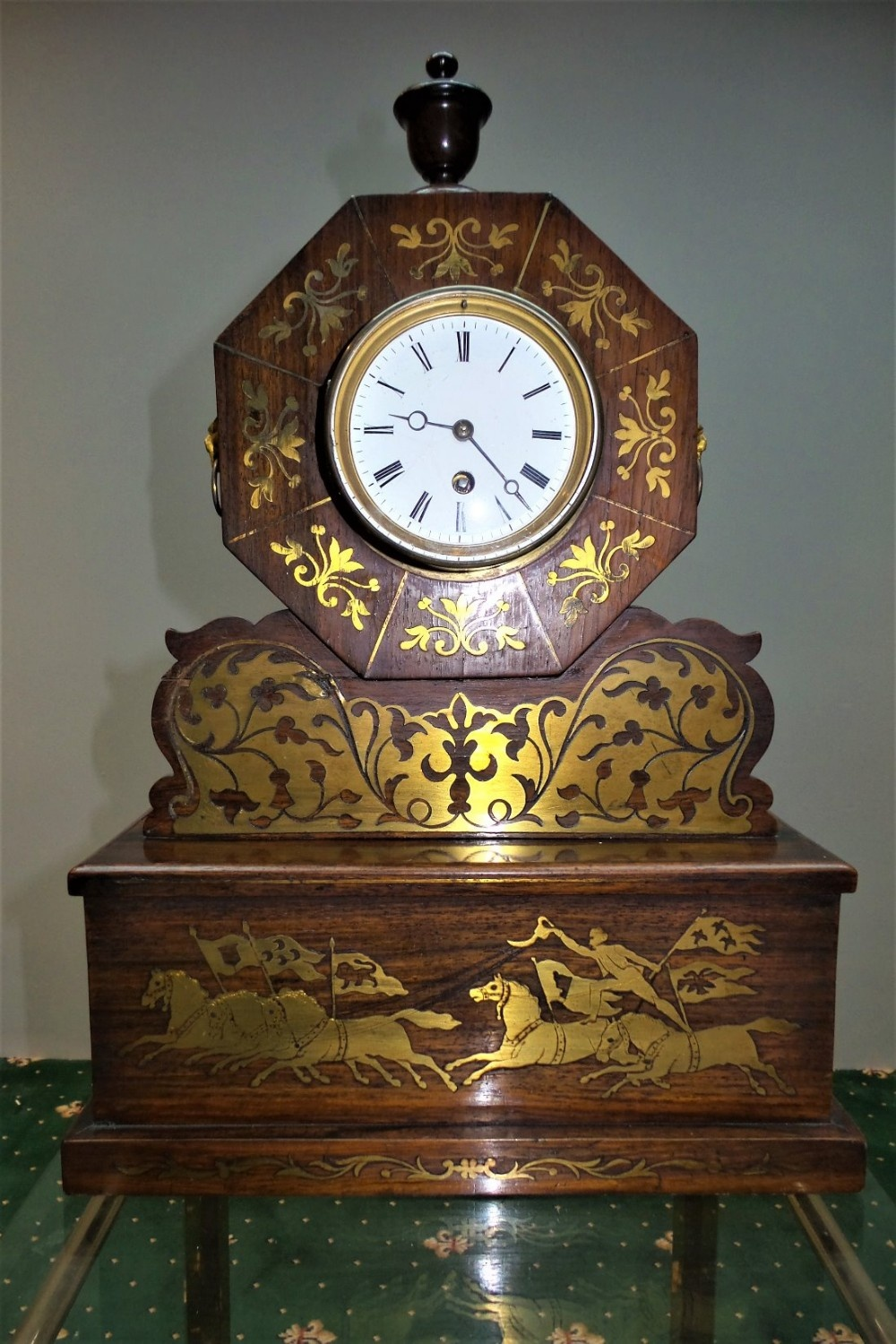 rosewood and brass inlaid french timepiece