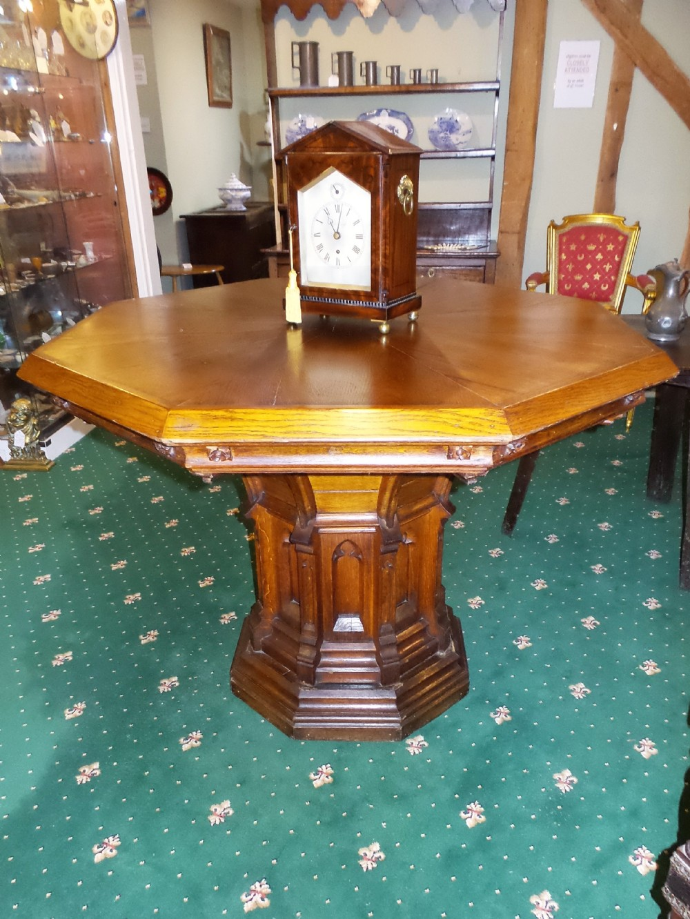 19th cent oak centre table in the style of pugin