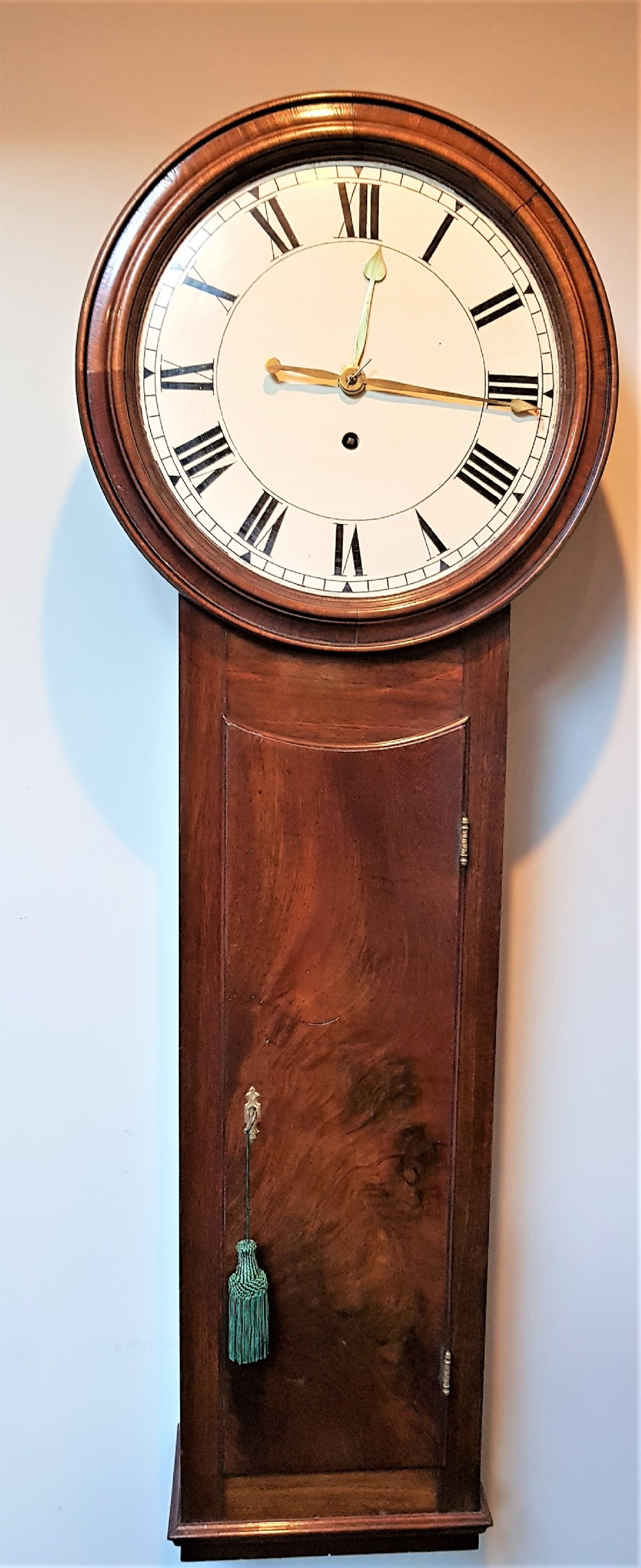 19th cent norwich style weight driven drop dial clock