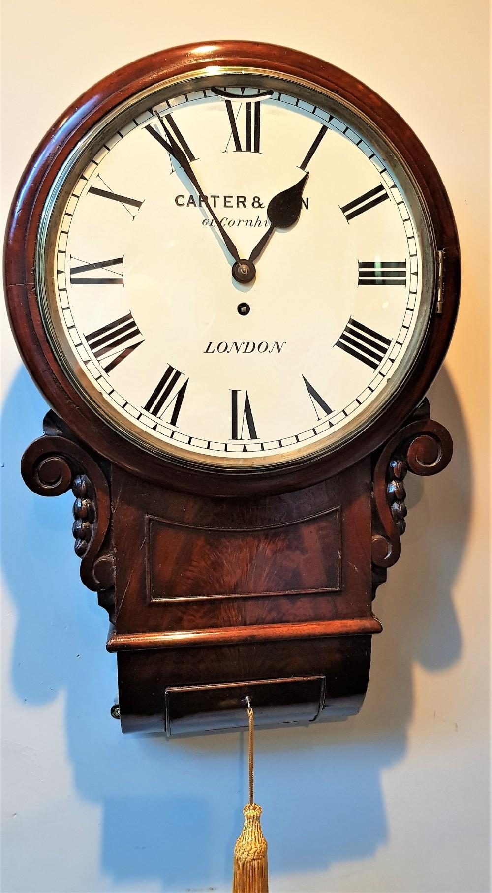 19th cent drop dial mahogany fusee wall clock