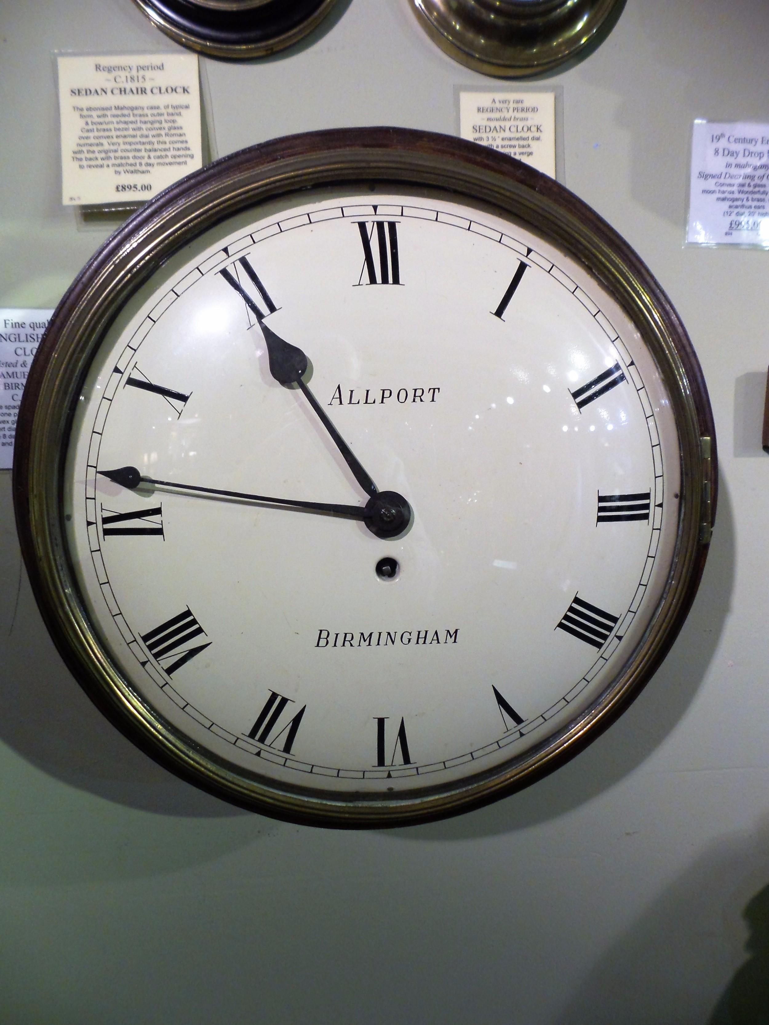 early english mahogany dial clock signed samuel allport birmingham
