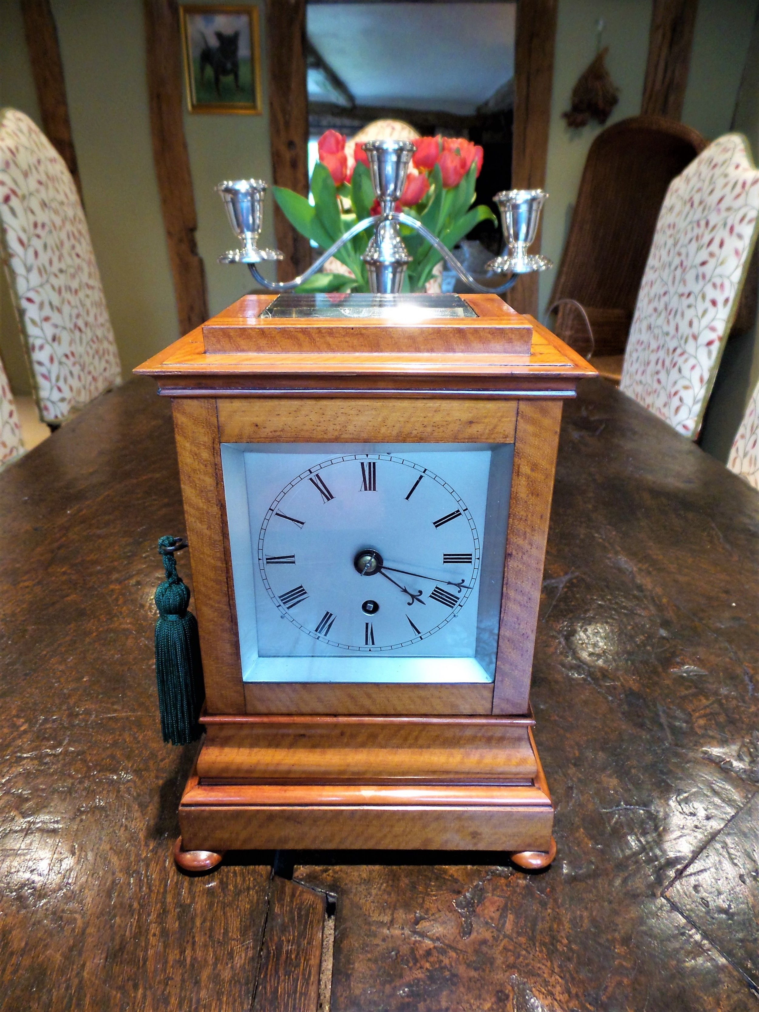 library clock in satin wood with single chain fusee c 1850