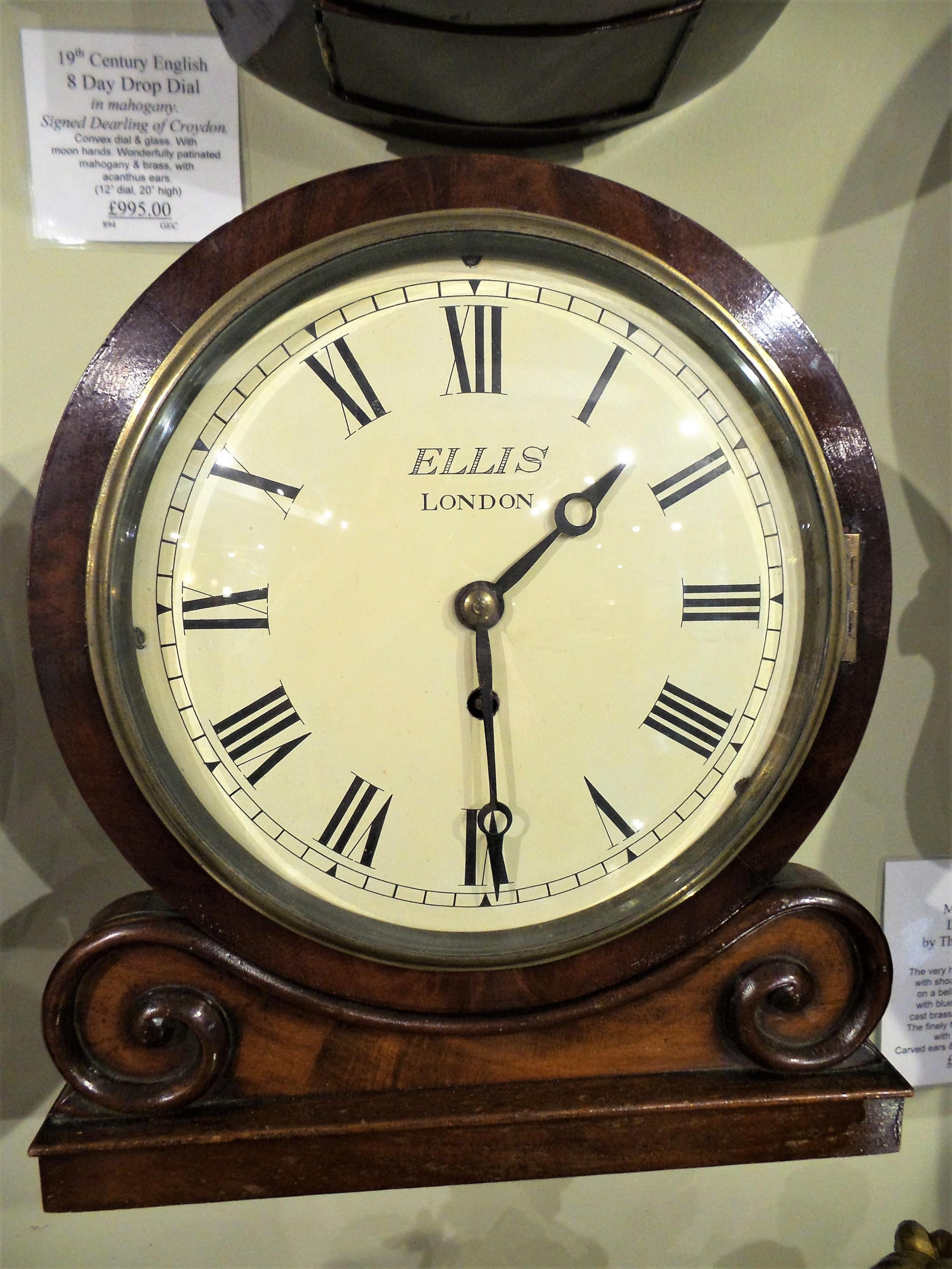 19th cent 8 mahogany dial clock