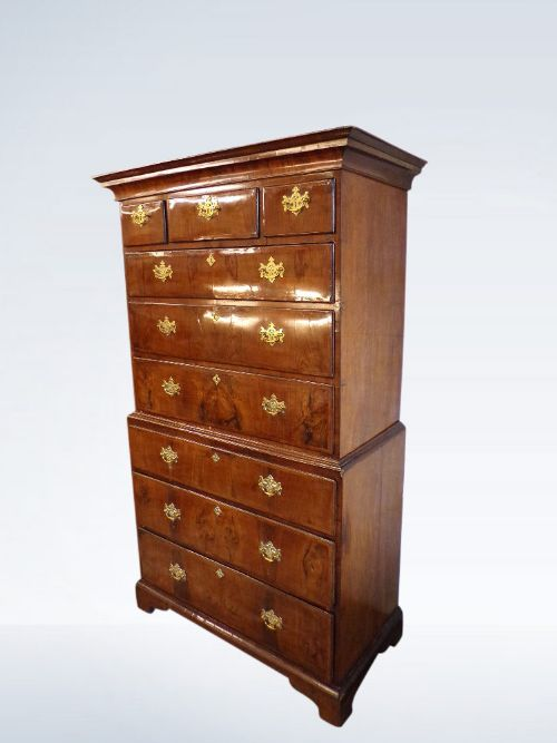 george ii walnut tallboy chest on chest