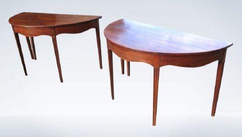 pair of georgian mahogany demilune console tables
