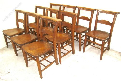 set of ten victorian beech and elm chapel dining chairs