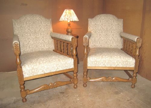 pair of edwardian club style upholstered oak armchairs