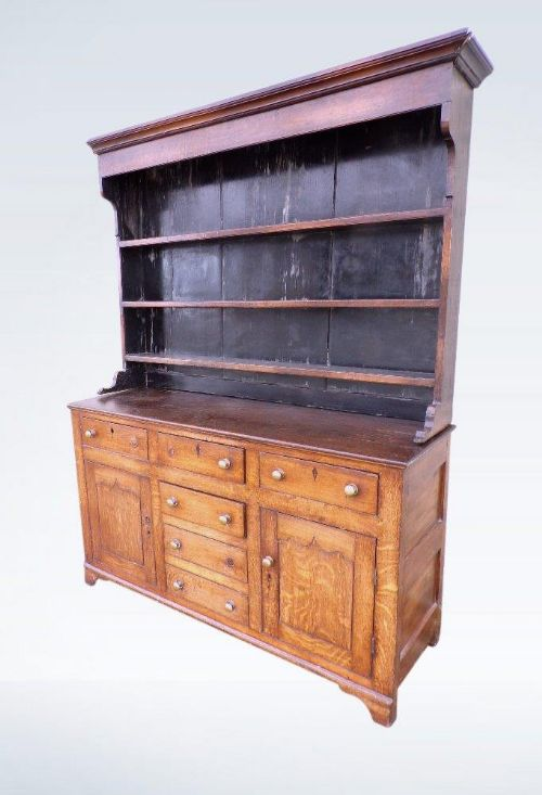 georgian country oak dresser with rack