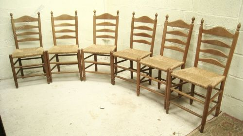 set of six oak ladder back country chairs