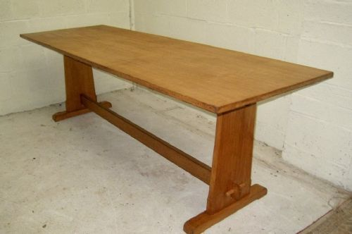 arts and crafts oak refectory table