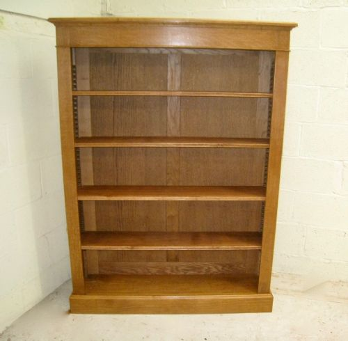 large edwardian oak open bookcase