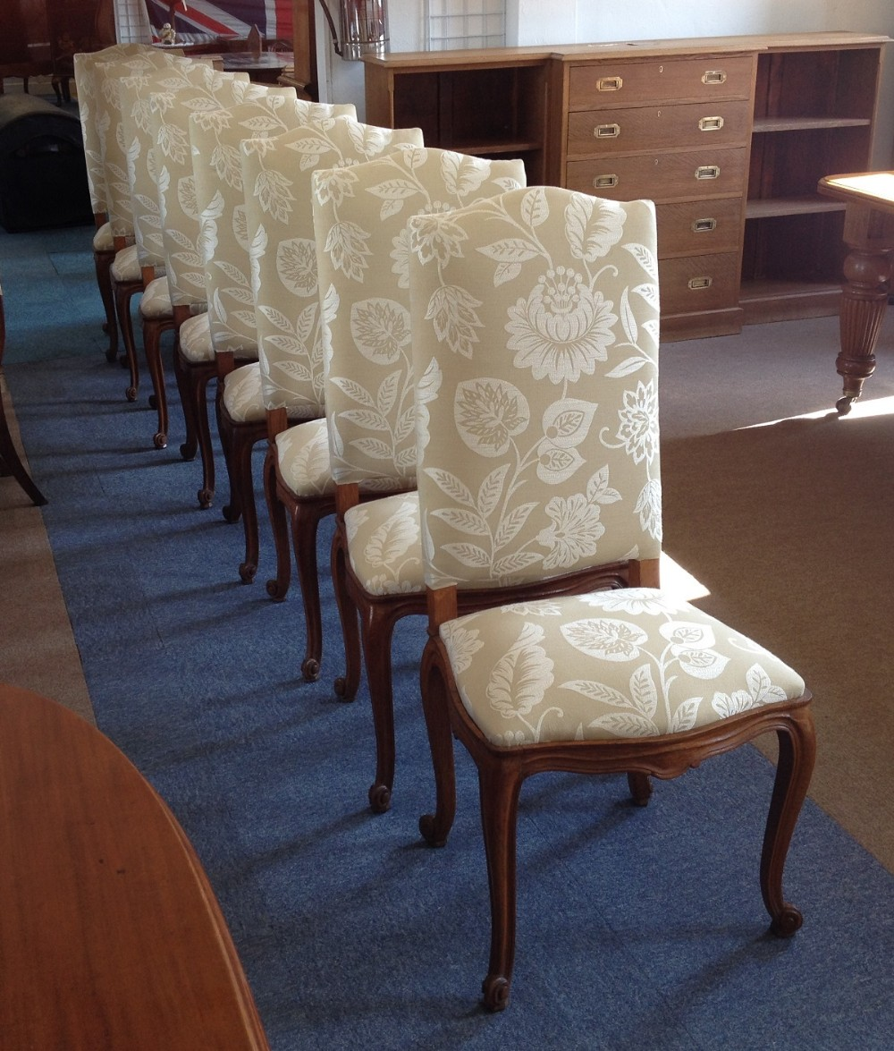 Set of eight 19th century french oak high back dining chairs