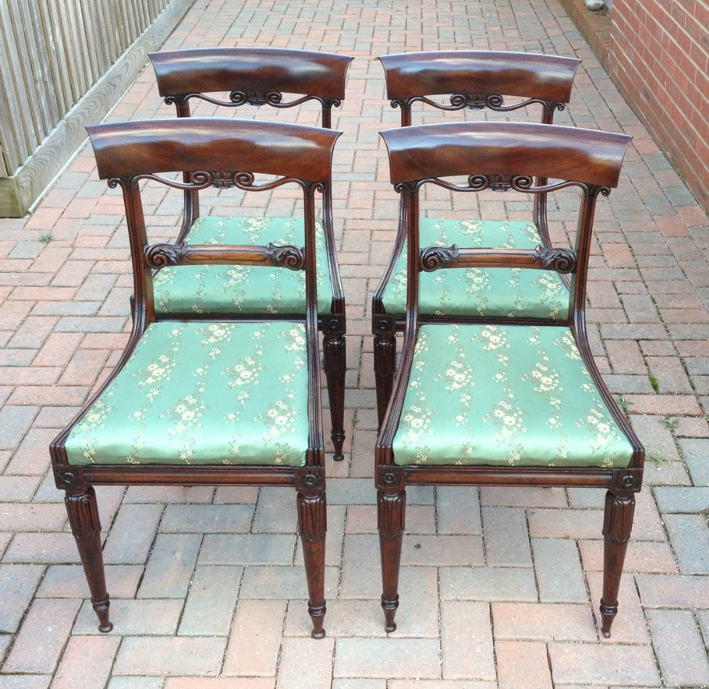 Antique Set Of Four Georgian Regency Bar Back Mahogany Dining Chairs
