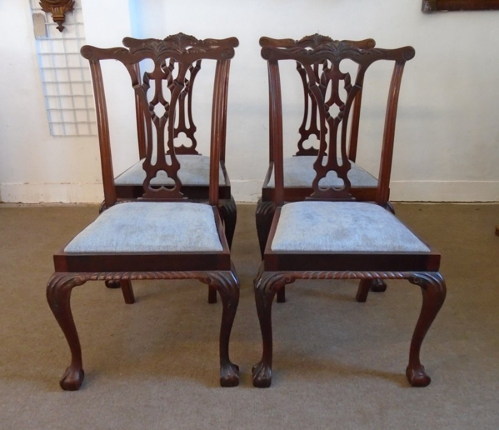 set of four georgian revival mahogany dining chairs