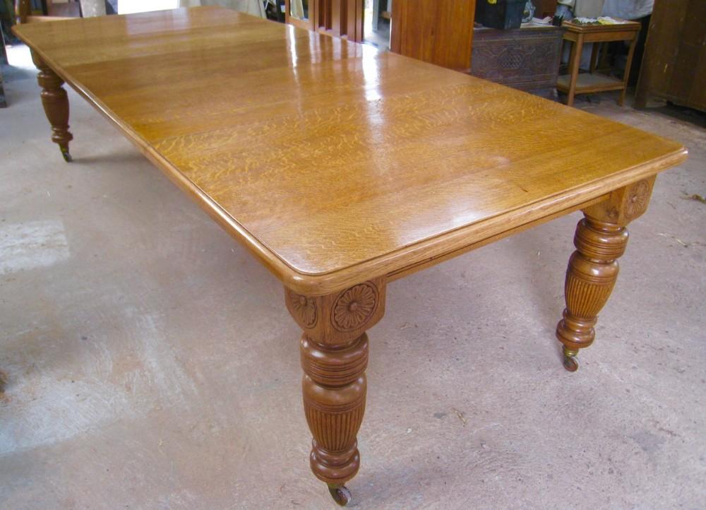 very large victorian golden oak extending dining table 10 feet long