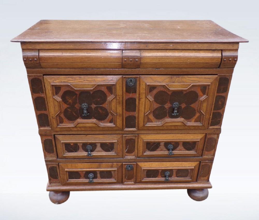 william mary oak walnut chest of drawers