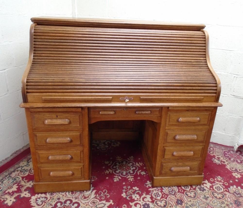 large edwardian oak roll top desk