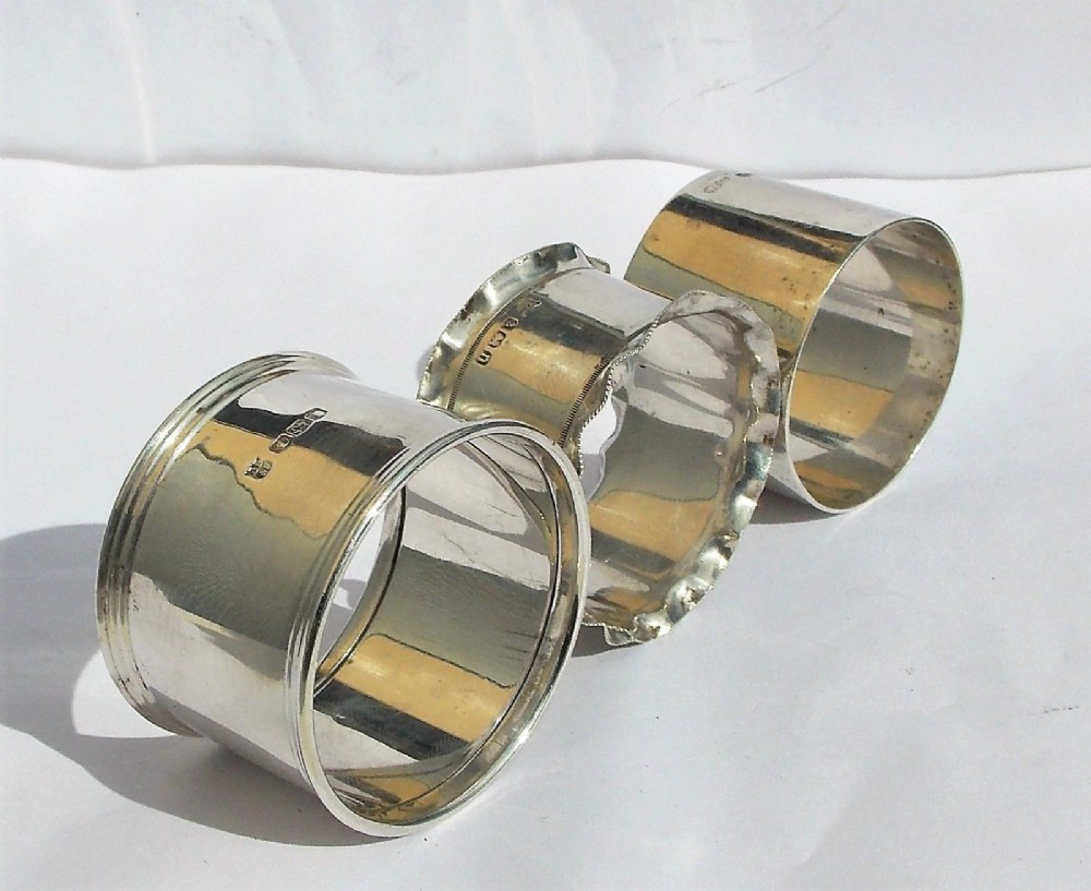 3 hallmarked edwardian art deco solid silver napkin rings