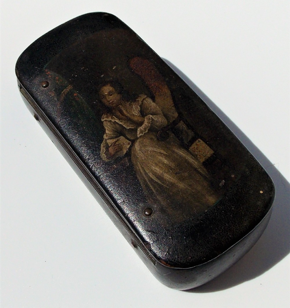 georgian russian korobov rectangle lacquered hand painted paper mache snuff boxc1818
