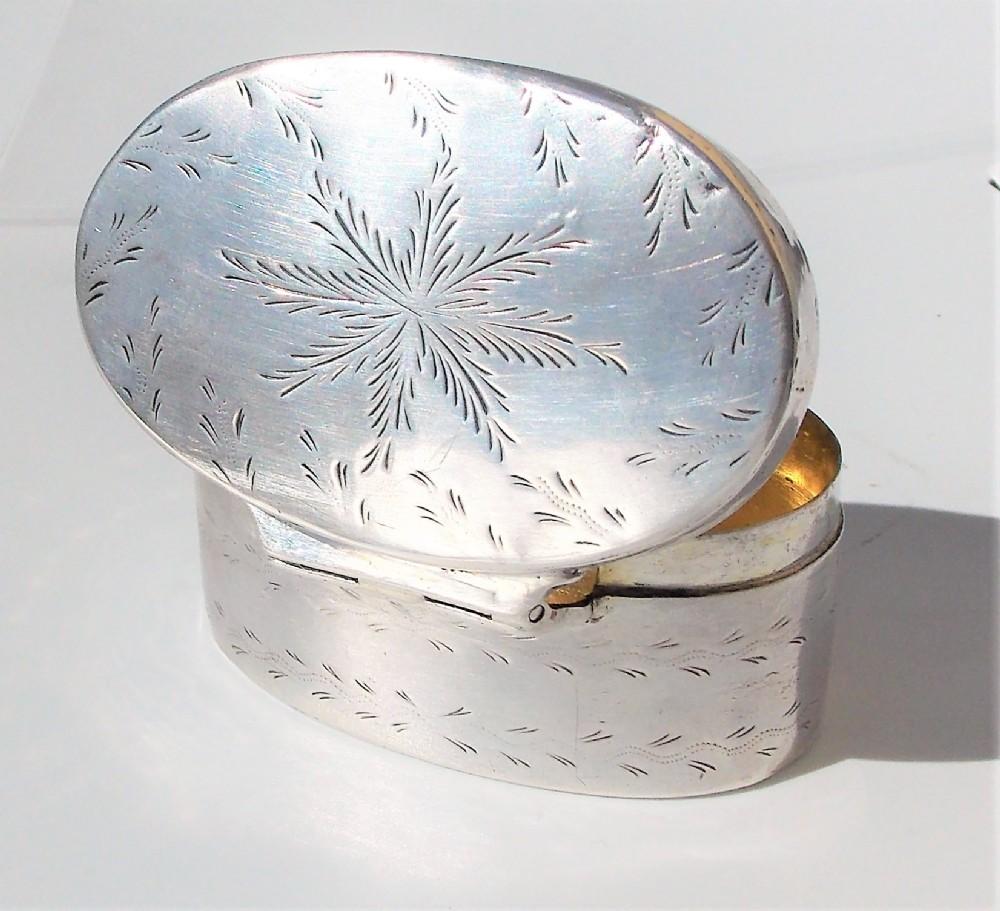 rare georgian maltese provincial hallmark solid silver fern leaf oval snuff boxc1800c1780