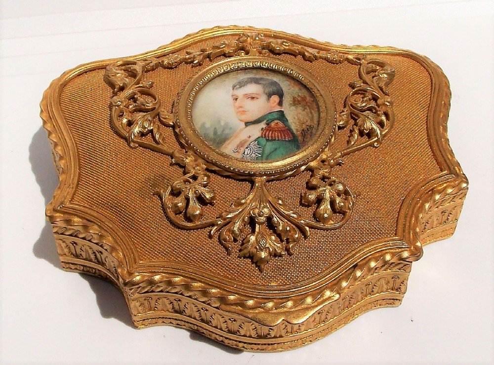 rare stunning french 19th century ormolu gilded jewellery box with napoleon portrait on ivoryc1800