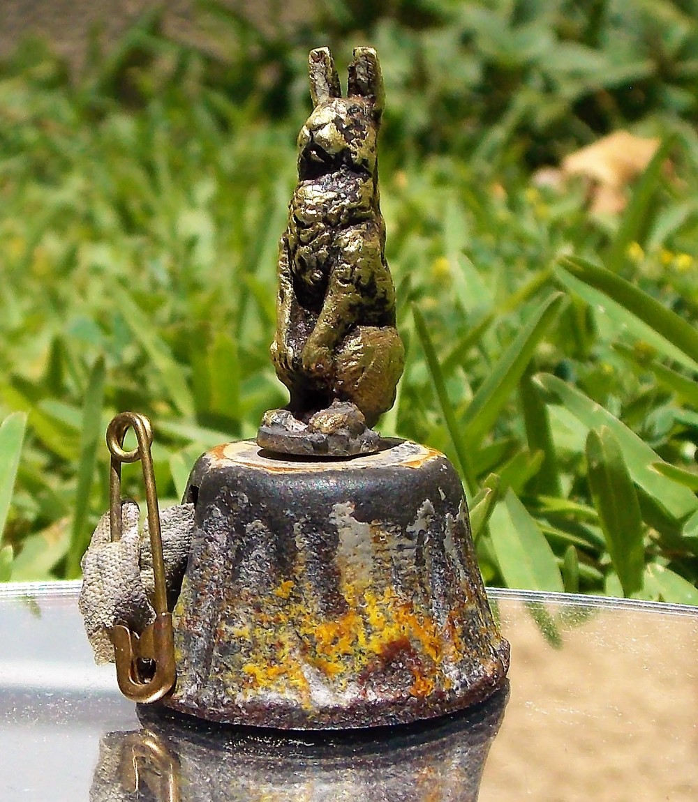 stunning victorian austrian novelty cold painted bronze rabbit on a plinth tape measure c1900