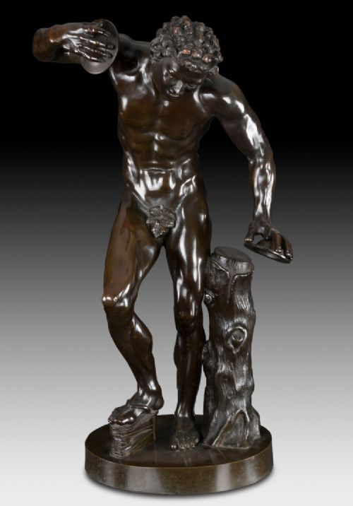 a grand tour bronze figure the faun with cymbals