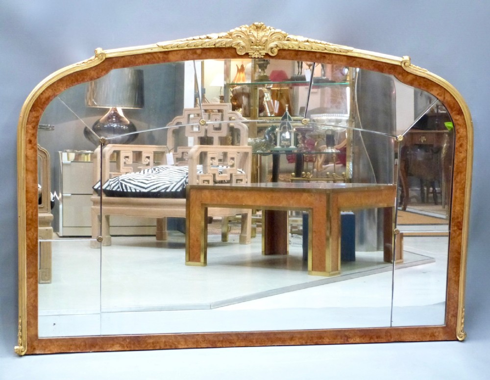 a superb quality walnut and gilt metal overmantel mirror