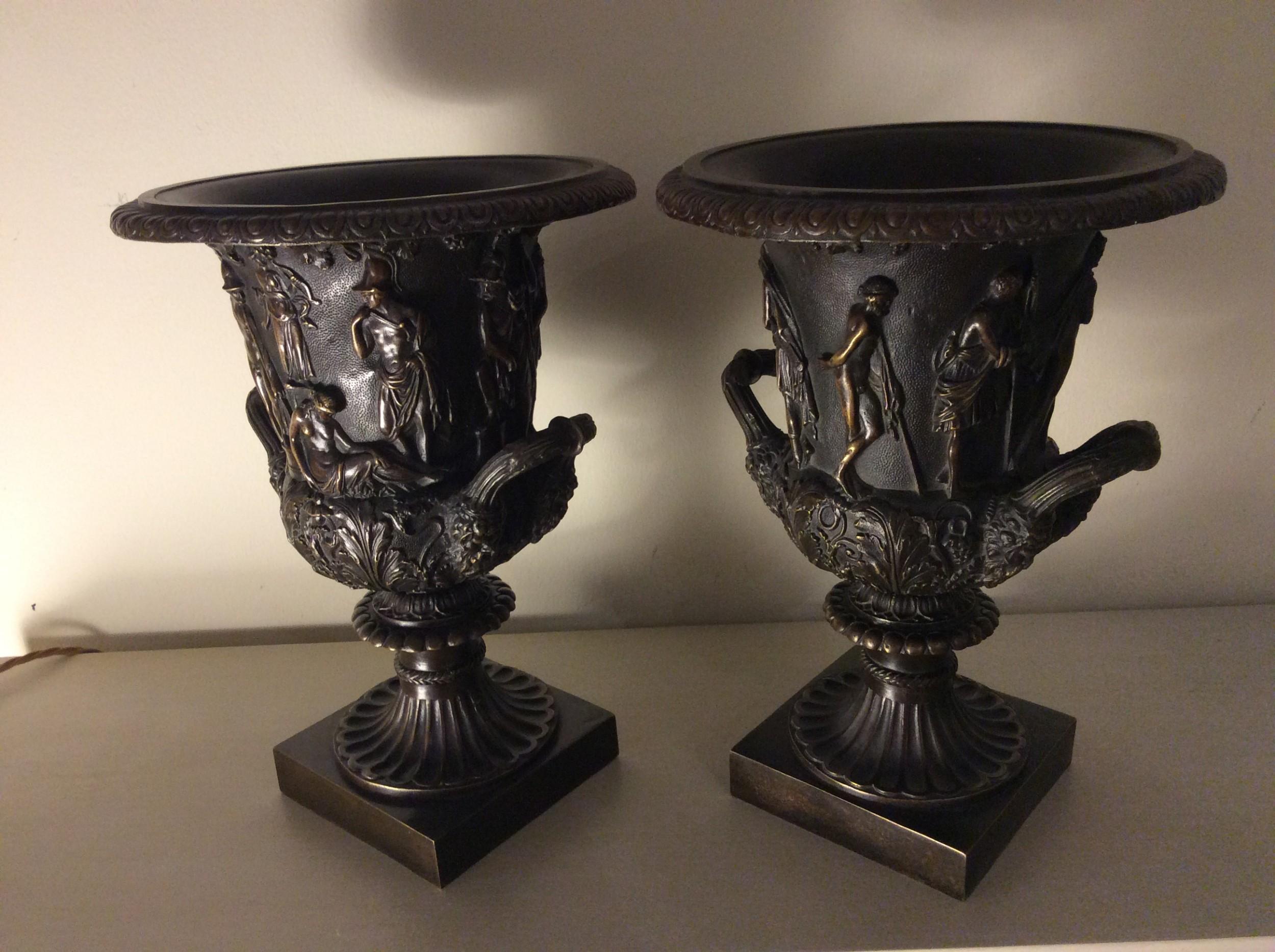 a pair of 19th c grand tour bronze medici vases