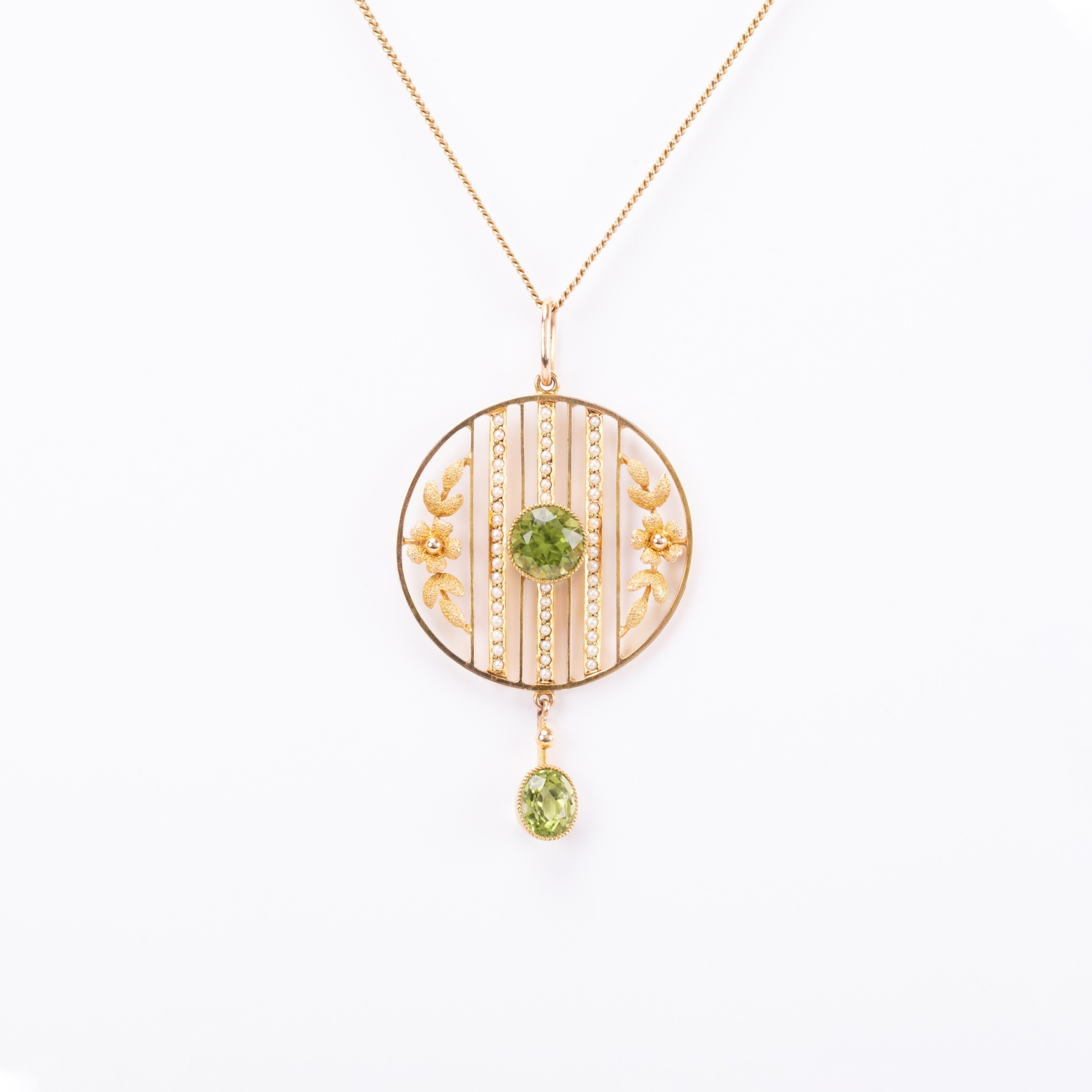 antique edwardian peridot and pearl pendant and gold chain circa 1900s