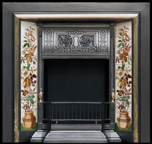 tiled grate with brass moulding