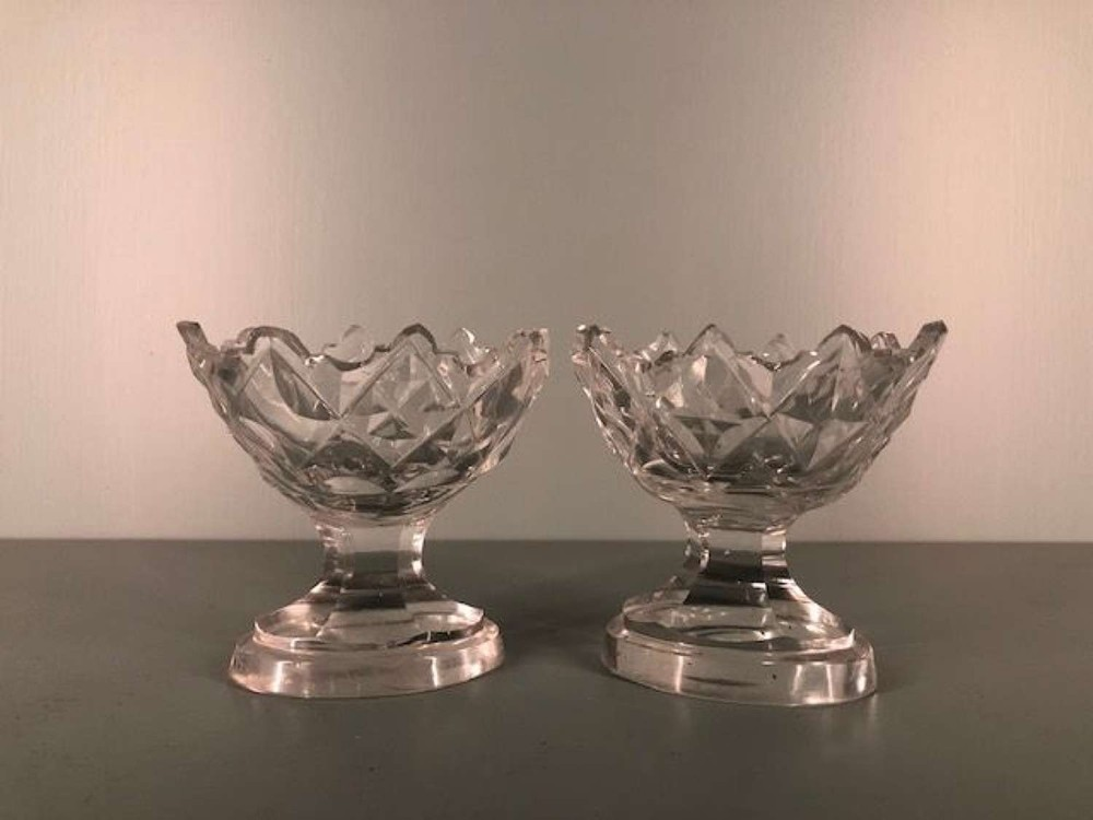 pair of 18th century irish cut glass salts