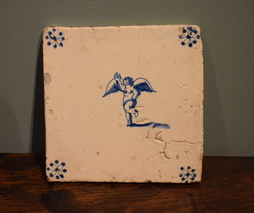 17th c dutch delft blue and white tile angel