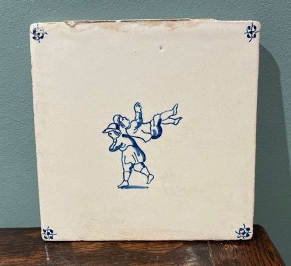 early 19th century dutch delft blue and white tile