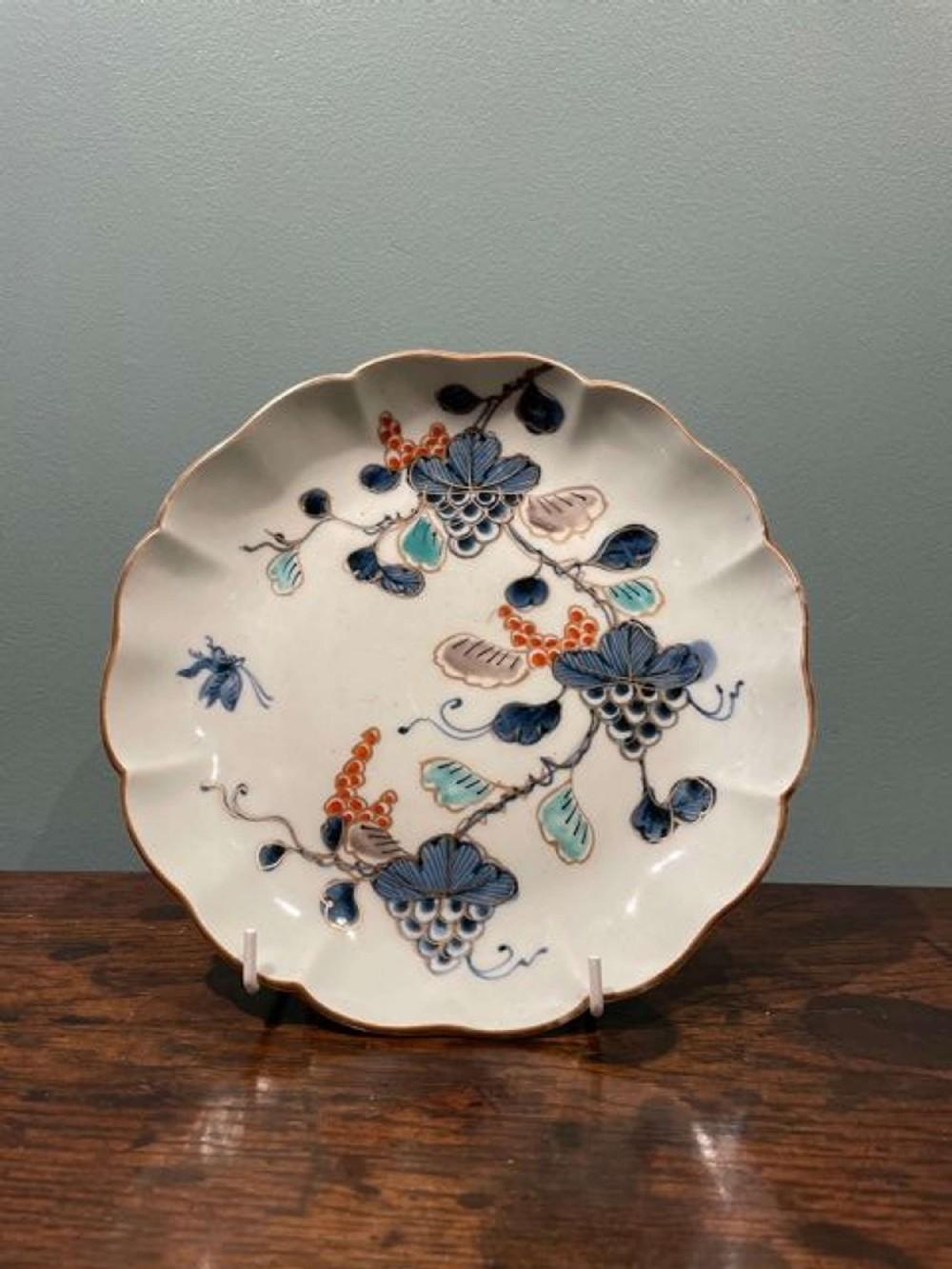 mid 18th c japanese arita imari verte plate with grape motifs