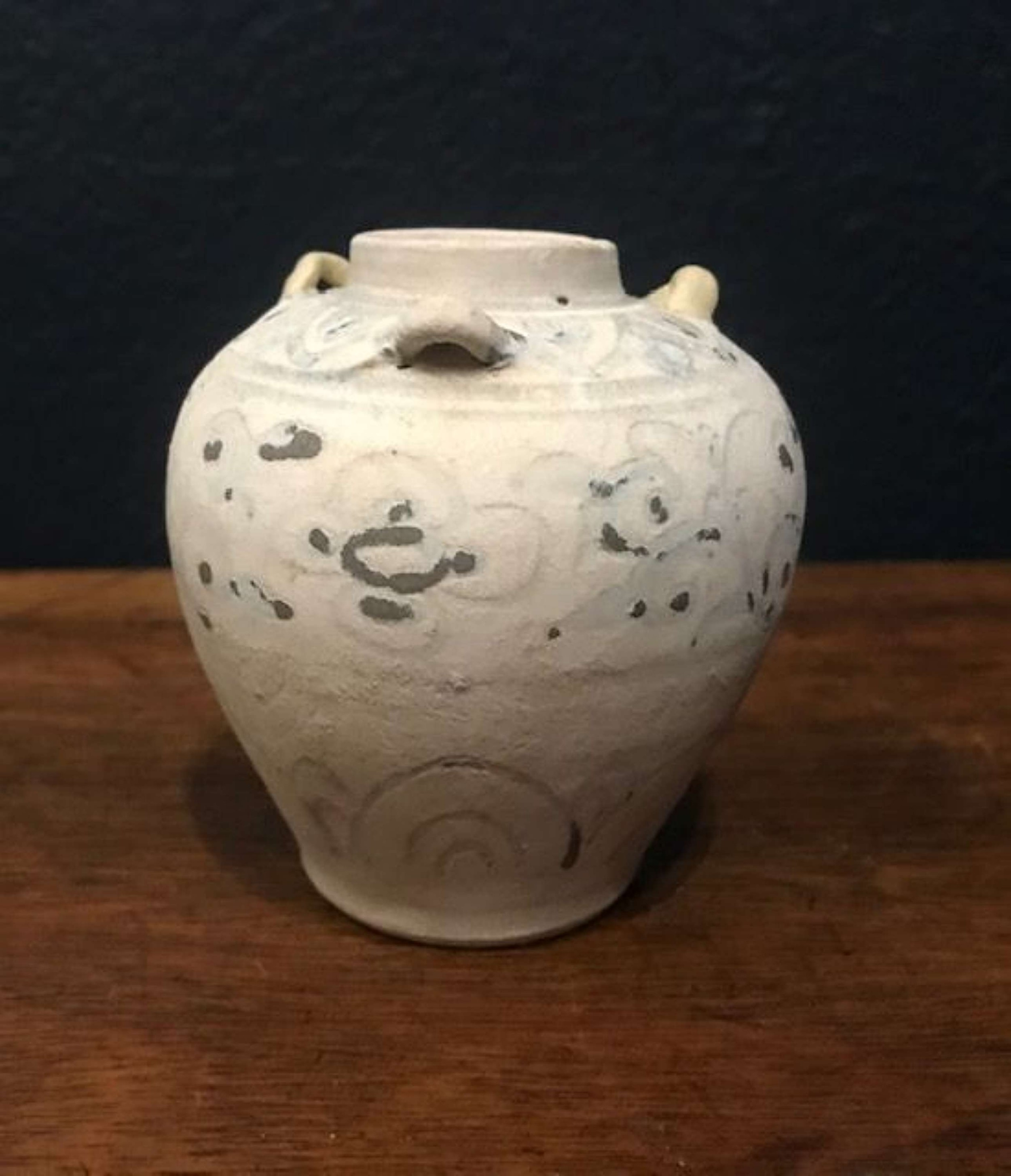 rare 15th c blue and white jarlet with handles hoi an hoard