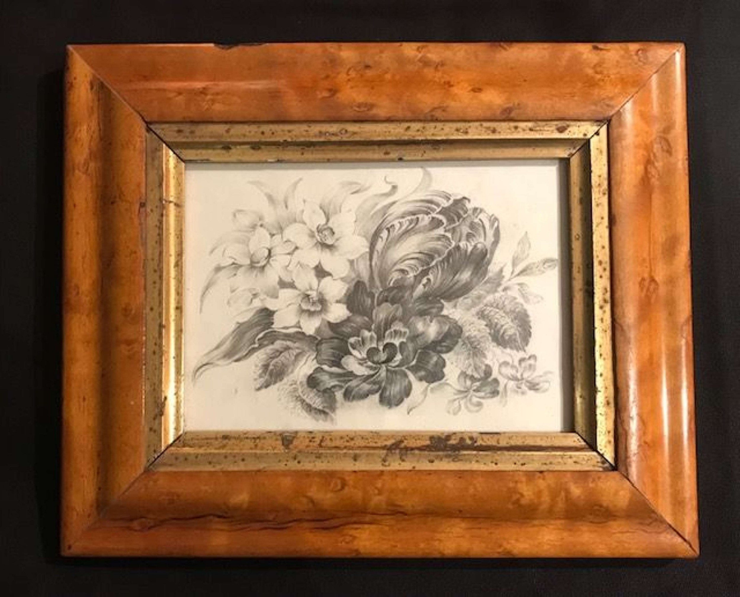 19th c monochrome floral pencil drawing