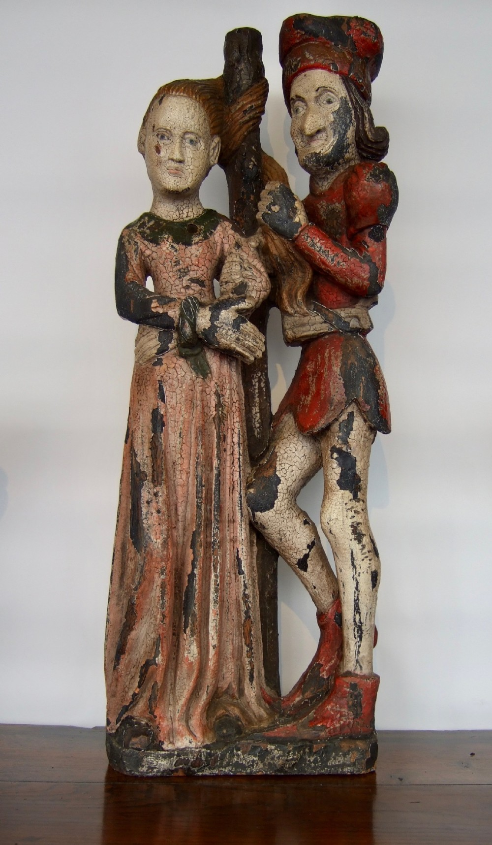 duke of burgundy with joan d'ark polychrome wood carving