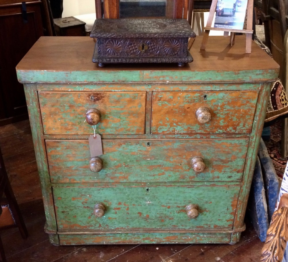 19thc green painted chest of drawers