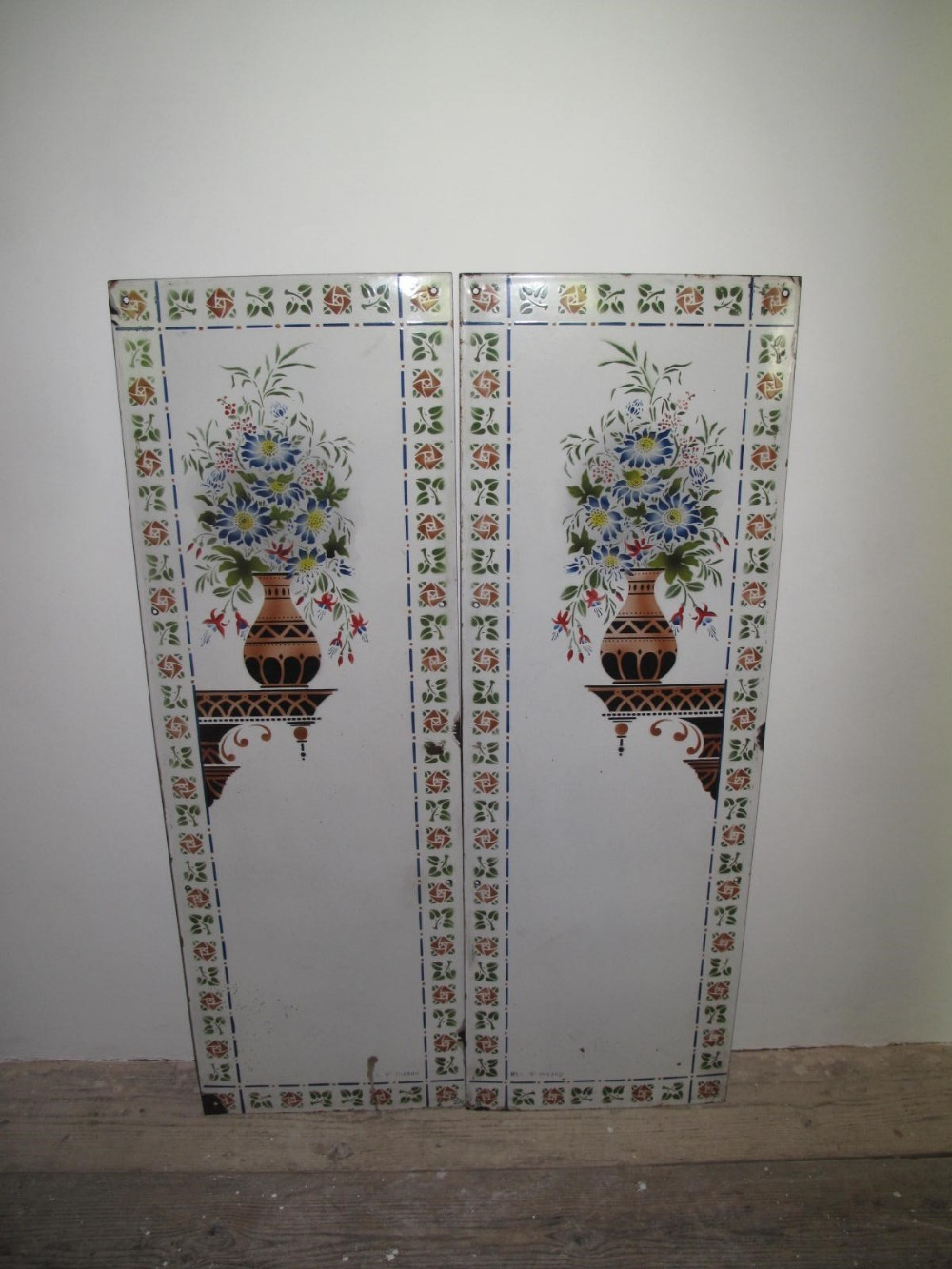 pair french enamel panels c1930