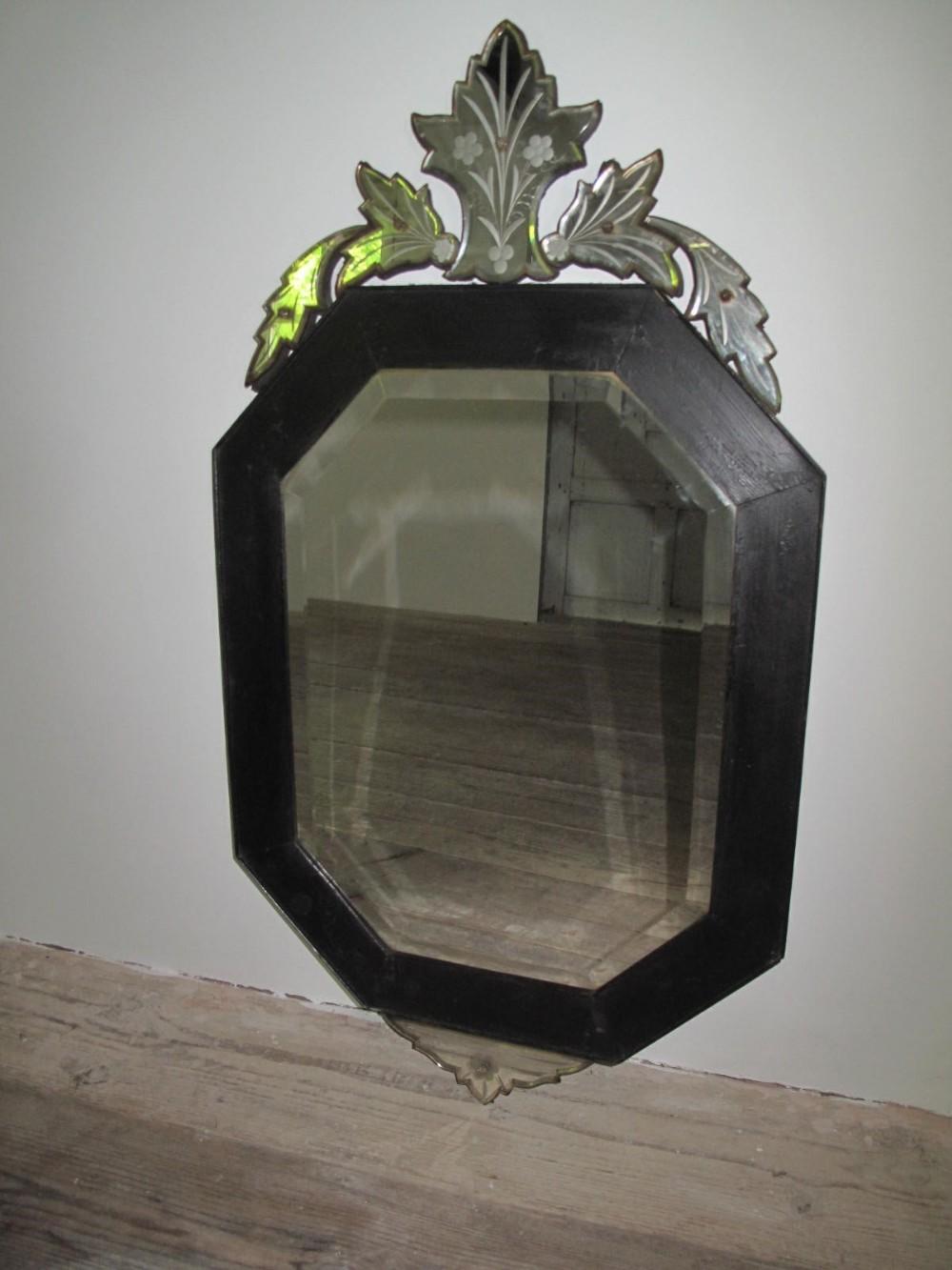 19thc mirror ebonised with cut glass pedimentc 1880