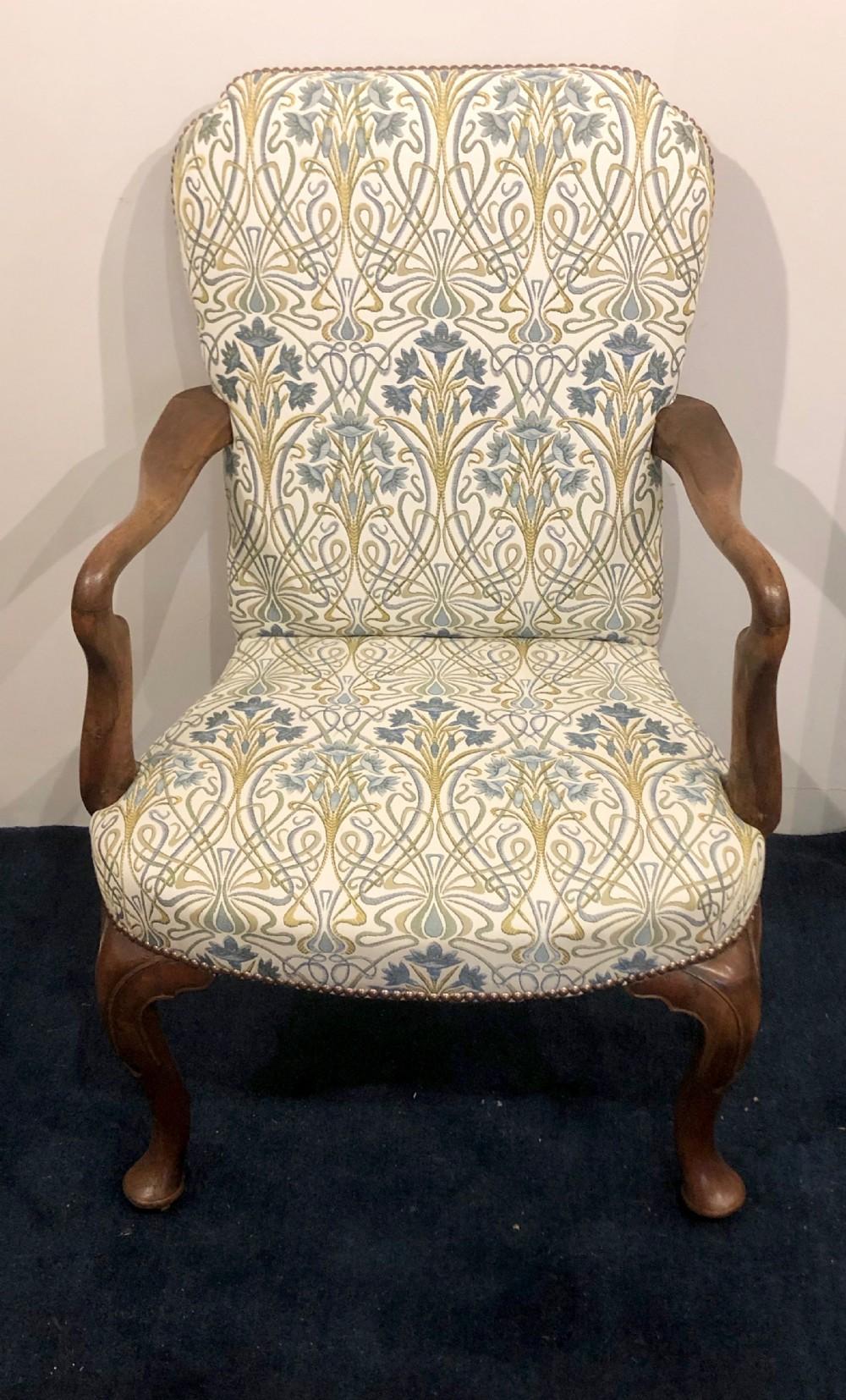 walnut open elbow chair 19thc
