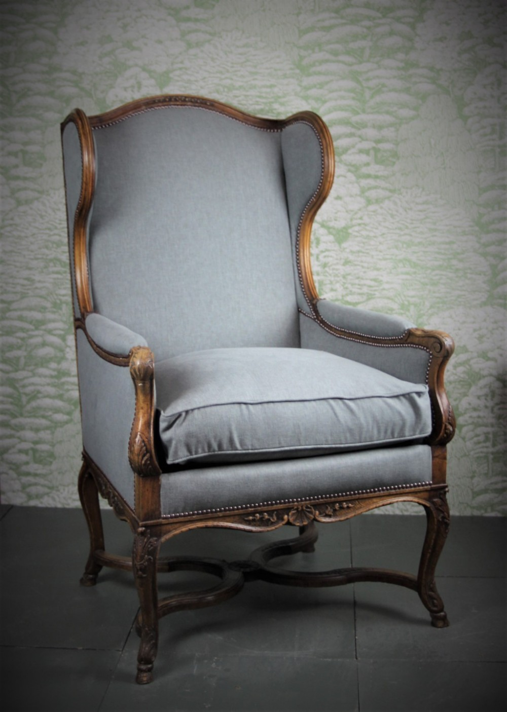 louis xv style walnut wingback bergere on hoof feet